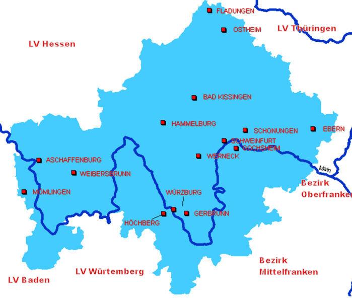 Übersichtskarte der DLRG-Ortsverbände in Unterfranken